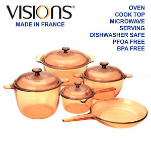 Image Is Loading Visions 9pc Gl Cookware Set Cerole Saucepan Fry