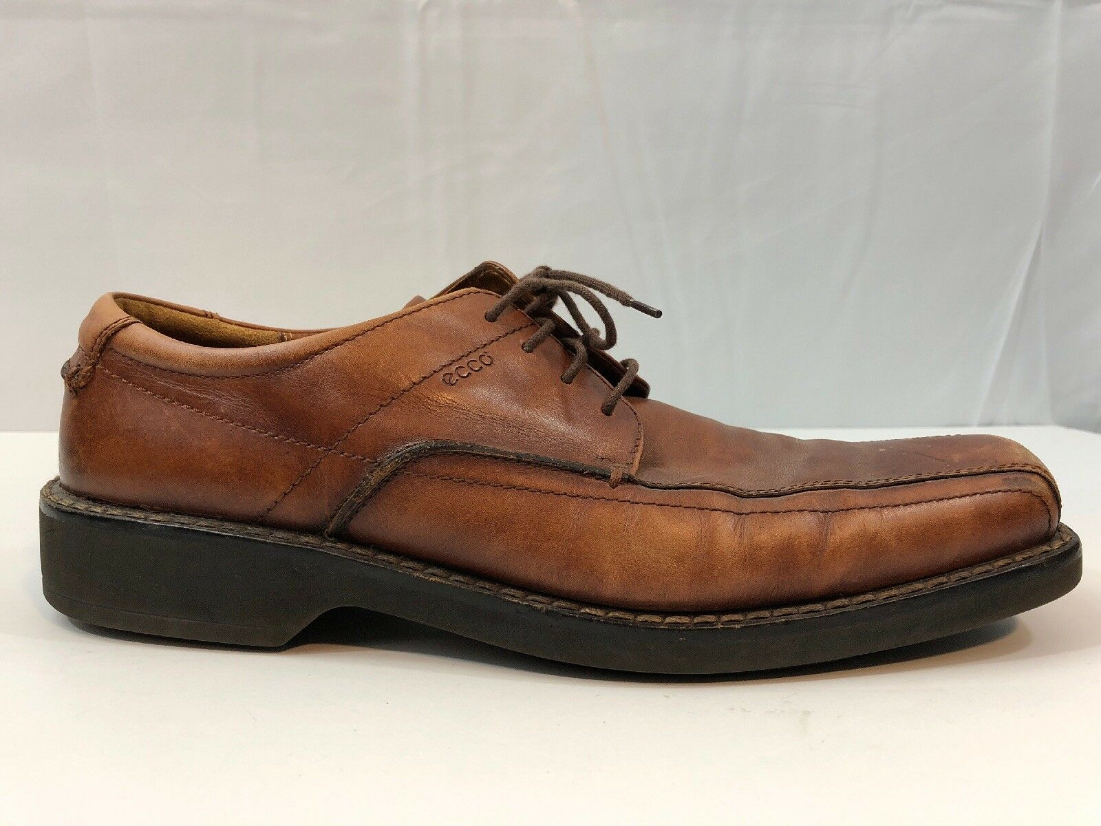 Ecco Mens Brown Leather Casual Dress Oxfords Bicycle Toe shoes 12 US 46 EUR