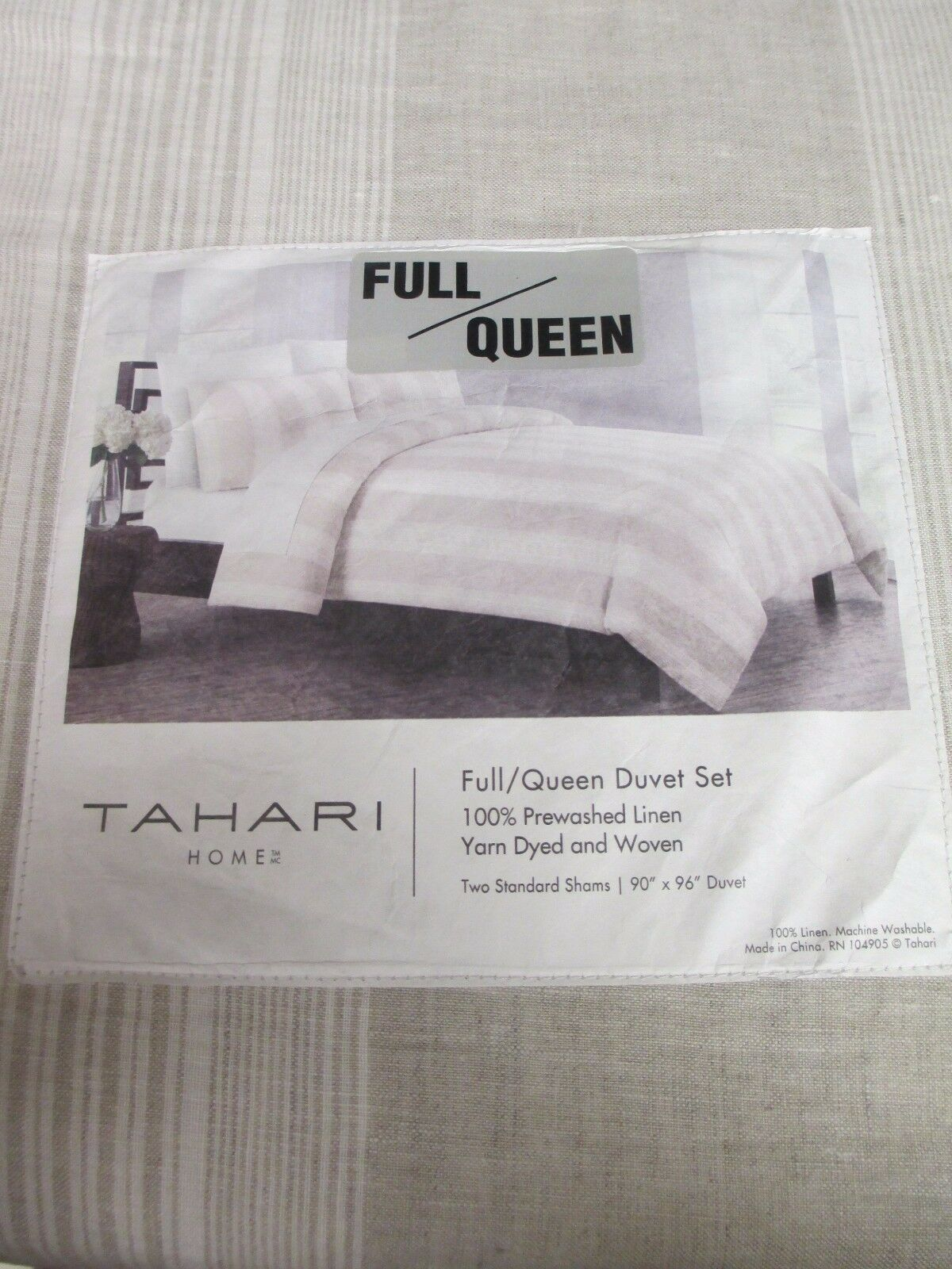 New TAHARI 100% Prewashed Linen Beige Tan Ivory Striped Duvet Set - Full Königin