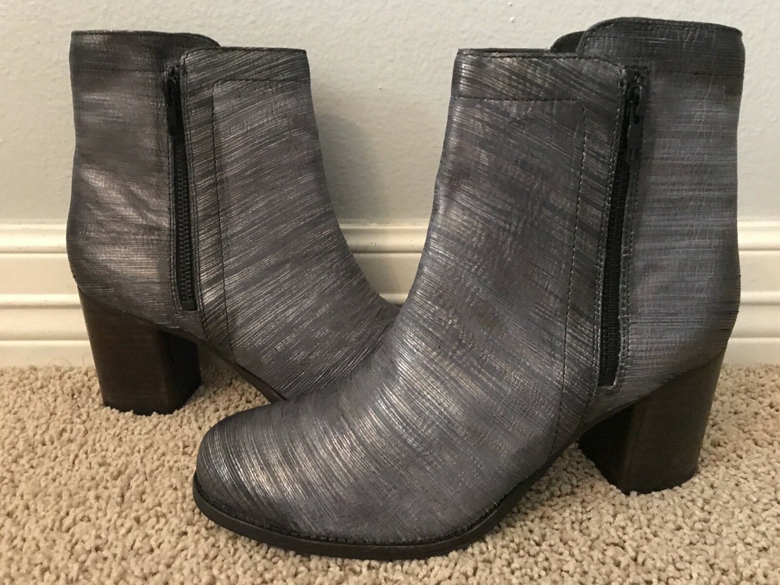 New FRYE Women's Addie Double Zip Pewter Pewter Pewter Grey Leather Boots Sz 9.5  398 4854e9