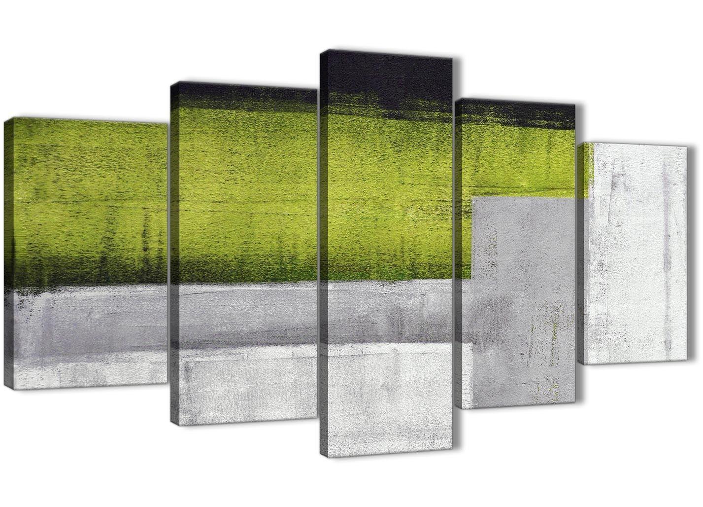 5 Pièce Vert Citron Gris Peinture Abstrait Decor Chambre à Coucher ...