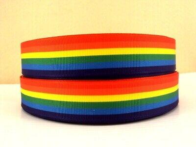Rainbow 1//2//3//10//50 Metres Gay Pride Grosgrain Ribbon Assorted Widths