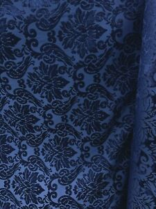 DARK-BLUE-DAMASK-CHENILLE-UPHOLSTERY-BROCADE-FABRIC-54-in-Sold-By-The-Yard
