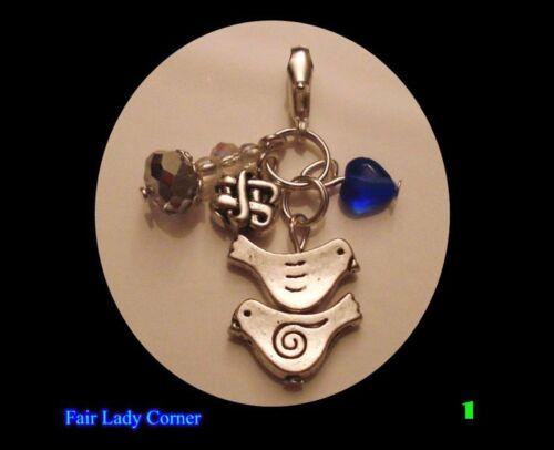 crystal dangle favor gift handmade Charm wedding bridal w something blue heart
