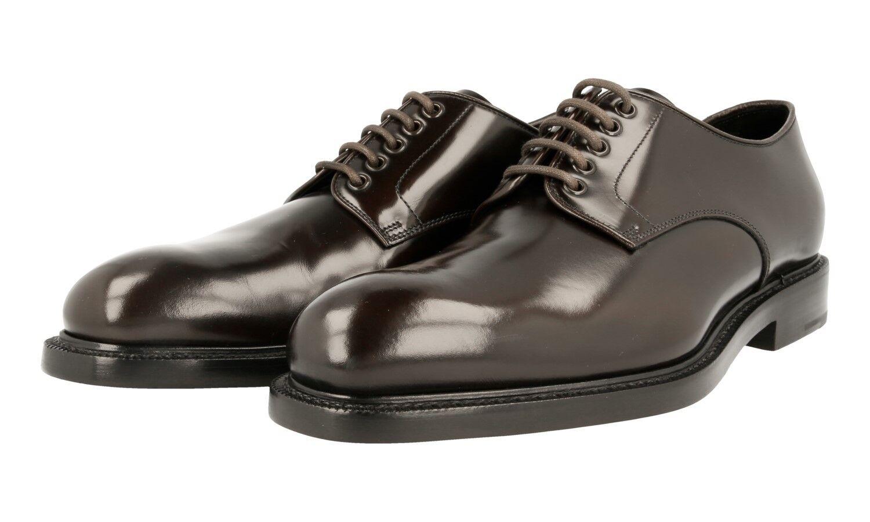 AUTHENTIC PRADA PLAIN TOE DERBY chaussures 2EA072 marron WELT SEWN US 11 EU 44 44,5