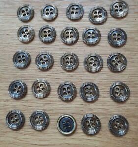 ♥ geniales vieja metal botones cuatro agujero 25 St. dm 16 mm ♥  </span>