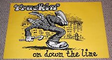 Vintage 1970's TRUCKIN' ON DOWN THE LINE R Crumb Poster Head Shop Underground