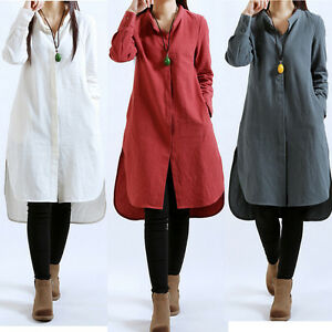 Casual Women Long Sleeve Cotton Linen Tunic A-line Button Down ...