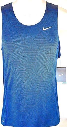 2e77b347f442bf Nike Men s large Dri Fit Running Tank Shirt Zigzag Blue Black 826051 480  Miler