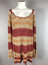 FREE PEOPLE CROCHETED RED STRIPE SCOOP NECK TUNIC SWEATER JUMPER M