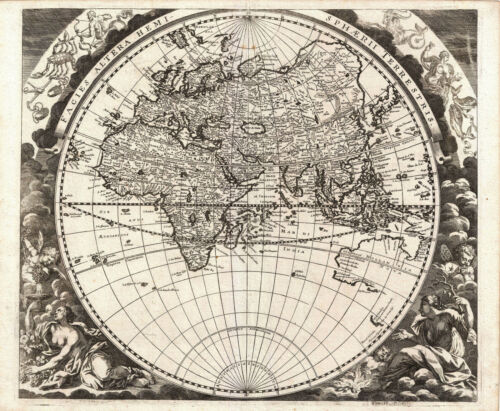 Double Posters Cartography Maps of the World in Two Hemispheres Circa 1696