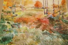 The Red Tree Landscape Watercolor Painting-1960s-Israel Louis Winarsky