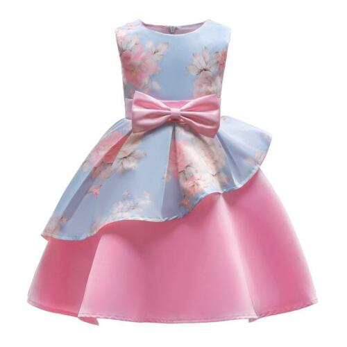 Floral Baby Girl Princess Bridesmaid Pageant Gown Birthday Party Wedding Dress