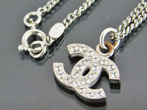 Authentic-CHANEL-Silvertone-CC-Rhinestones-Pendant-Necklace-07V