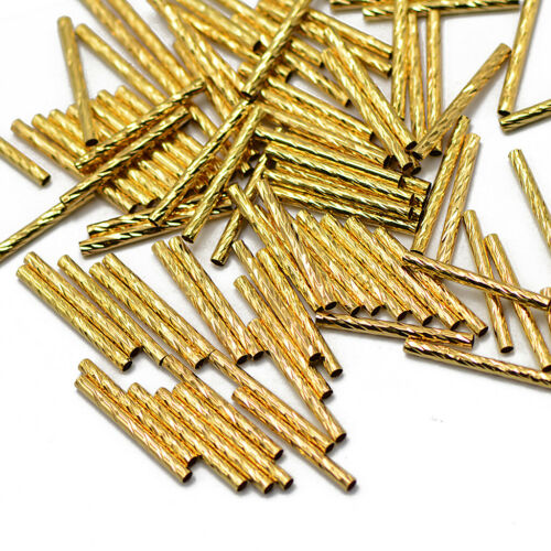 Gold 50pcs Metallröhrchen Spacer Röhrchen Rohr Swirl Nudel Perlen beads