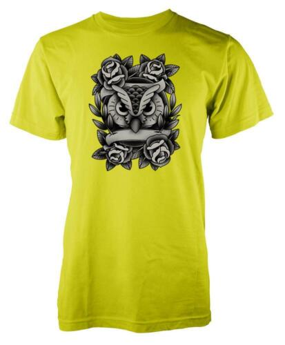 Owl Crest With Roses Adult T Shirt