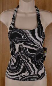 NWT-Nike-Black-White-Swirl-Marbled-Women-039-s-Tankini-Swim-Top-Racerback