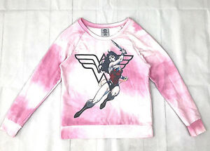069e8288f422d DC Comics Wonder Woman women jrs M 7 9 pink white tie dye long ...