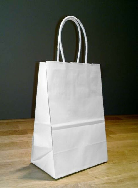 5.25x 3.25 x 8.5 Small White Paper Shopping Gift Bags with Rope Handles