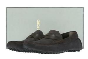 NEW-TOM-FORD-CURRENT-SAMUEL-CROSTA-GRAY-SUEDE-LOAFERS-DRIVER-MOCCASINS-SHOES-8-T
