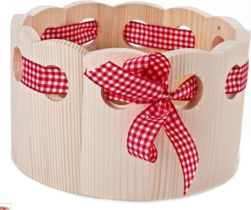 Bayerischer Brötchenkorb Brotkorb mit Zierdeband Holz Brotkörbchen
