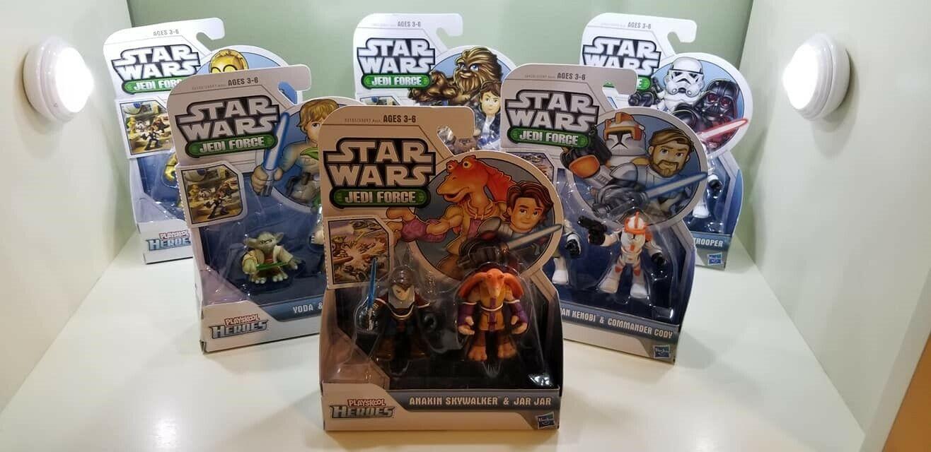 NEW Playskool Heroes Star Wars Jedi Force Lot of 6 2-packs  Han Obi Yoa C-3PO ++