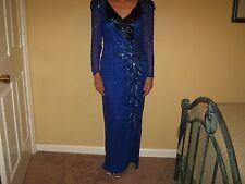 OLEG CASSINI Vintage BLACK TIE SIZE 8 Blue Silk 1980s HEAVY BEADED FORMAL Gown