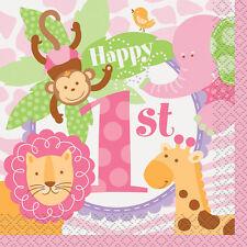 1st BIRTHDAY Pink Safari SMALL NAPKINS (24) ~ First Party Supplies Cake Dessert