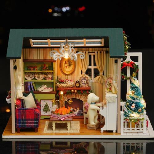 DIY Christmas Miniature Dollhouse Kit Mini 3D Wooden House Craft LED Lights C6X8