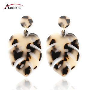 New Fashion Leopard Acrylic Leaf Statement Drop Earrings Dangle Women Jewelry