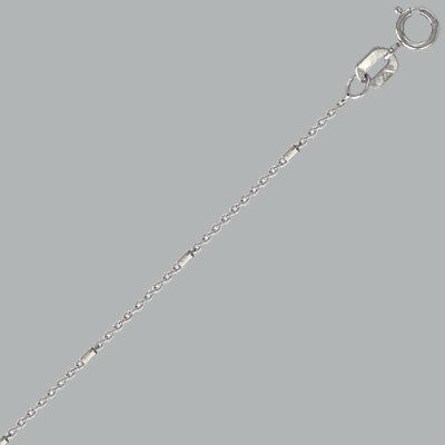 """Imported From Abroad New 14k White Gold Rolo Studded Anklets Choose Size 7"""" 12"""" Jewelry & Watches"""