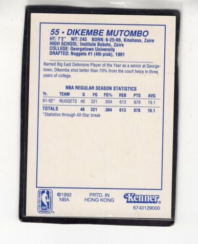 DENVER NUGGETS Kenner Starting Lineup Card 1992  DIKEMBE MOTOMBO