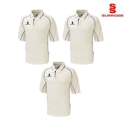 Surridge New Premier Shirt Long Sleeve Sports Cricket Collared Shirts Tops