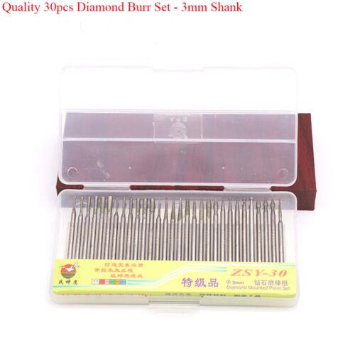 Diamond Burr Grinding Bit Set 2.35//3mm Shank for Dremel Engraving Jewelry Glass