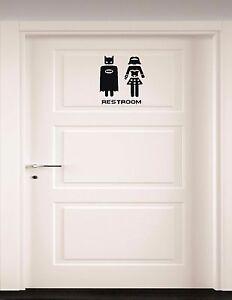 Batman And Wonder Woman Bathroom Door, Bathroom Door Decals