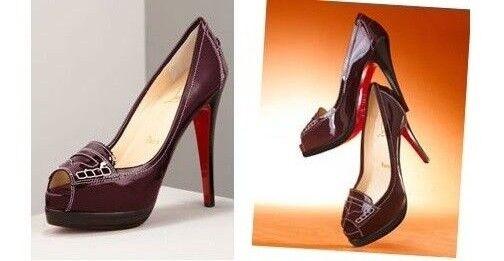 1050 New Christian Louboutin PENICHE 140 Patent Eggplant Plum Pumps shoes 40.5