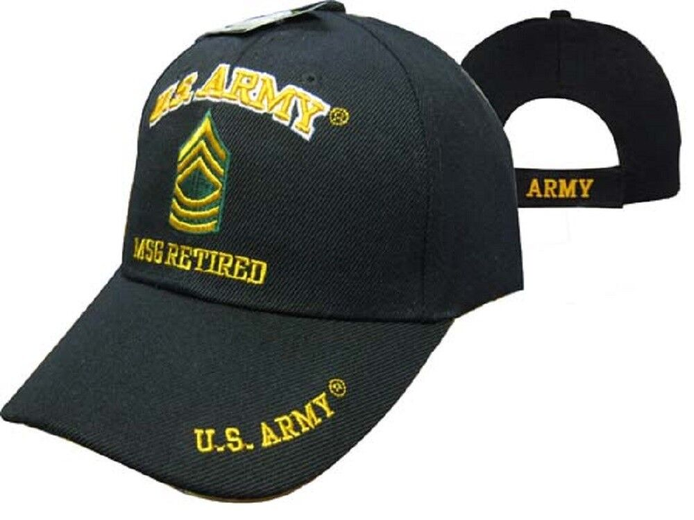 U.S. Army MSG Retired Military 560D Black Embroidered Cap Hat 560D Military b04691