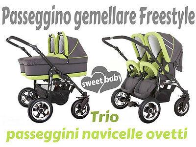 Gentile Passeggino Gemellare Freestyle 3in1 Navicelle Ovetti Grigio+verde Lime Trio Morbido E Antislipore