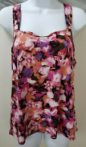 New-Directions-Top-Sleeveless-Tank-Pink-Stretchy-Floral-Casual-Blouse-Size-XL