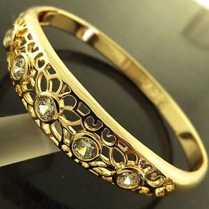 FSA256-GENUINE-REAL-18K-YELLOW-G-F-GOLD-SOLID-DIAMOND-SIMULATED-HINGED-BANGLE