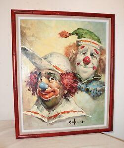 vintage-original-William-Moninet-expressive-two-clown-oil-painting-on-canvas