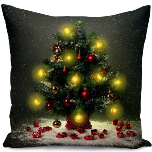 LED Christmas Xmas Linen Cushion Cover Sofa Throw Pillow Case Home Decor Festive