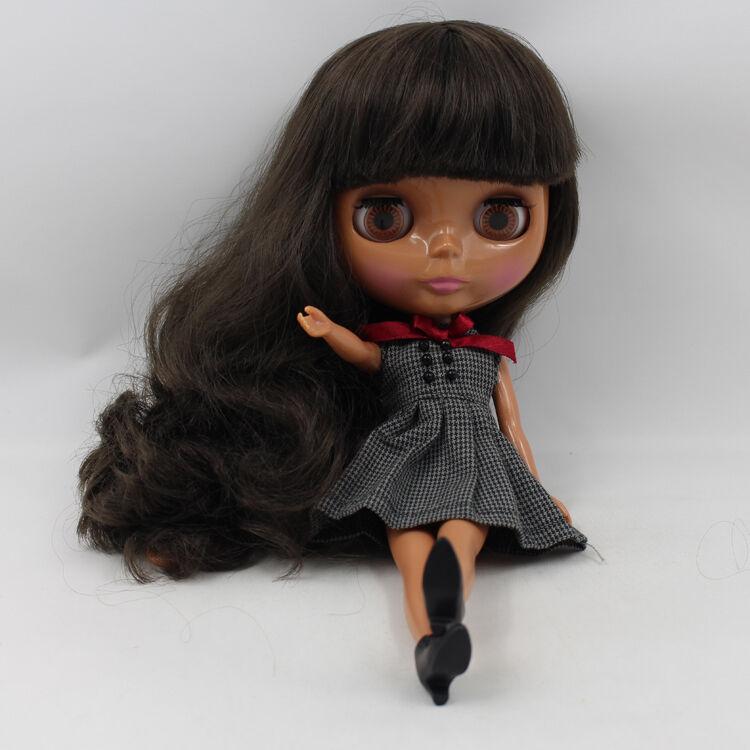 12  Neo Desnuda Muñeca Blythe Doll de fábrica NEGRO PIEL negra pelo rizado con Bang