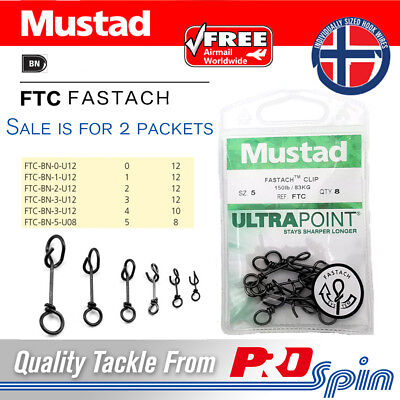 Ball Bearing Swivel 5 Packs Mustad Fastach Clips Choose Same Or Mixed Sizes