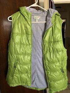 TANGERINE-Women-s-Puffer-Vest-Lime-Green-XXl-Hooded-Lined-Pockets-EUC