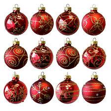 12tlg Set Weihnachtskugeln Ø6cm Glaskugeln Christbaumkugeln Rot Baumschmuck