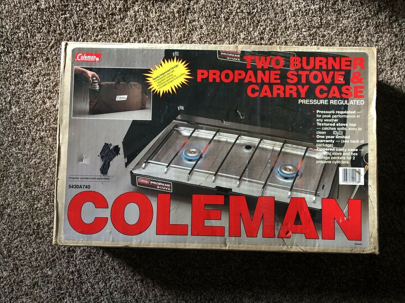 Vintage Coleman Two Burner Propane Stove &  Carry Case 5430A740 NIB  select from the newest brands like