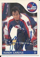 Signed Randy Carlyle Winnipeg Jets 85-86 O-PEE-CHEE  Hockey Card #57