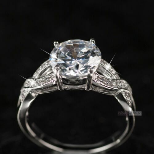 18K White Gold GF women/'s wedding band dress Simulated Diamond ring
