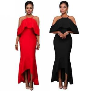 aef01da2c05 Sexy Off Shoulder Hi Lo Hem Slim Maxi Formal Prom Party Gown Evening ...